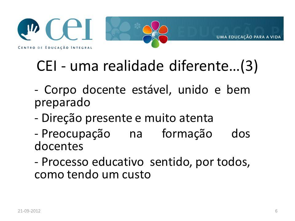 CEI - uma realidade diferente…(3) - Corpo docente estável, unido e bem preparado - Direção presente e muito atenta - Preocupação na formação dos docentes - Processo educativo sentido, por todos, como tendo um custo 21-09-20126