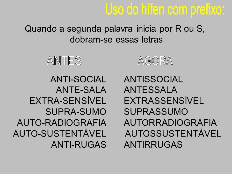 ANTI-SOCIAL ANTISSOCIAL ANTE-SALA ANTESSALA EXTRA-SENSÍVEL EXTRASSENSÍVEL SUPRA-SUMO SUPRASSUMO AUTO-RADIOGRAFIA AUTORRADIOGRAFIA AUTO-SUSTENTÁVEL AUT