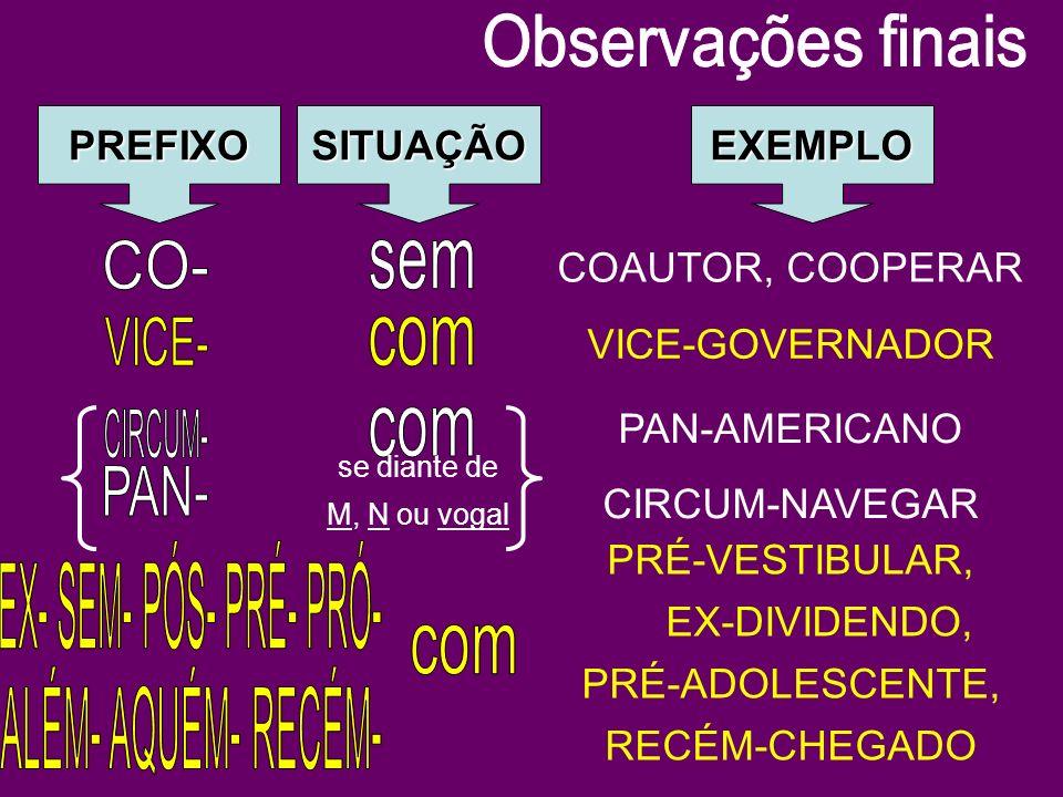 PREFIXOSITUAÇÃOEXEMPLO COAUTOR, COOPERAR VICE-GOVERNADOR se diante de M, N ou vogal PAN-AMERICANO CIRCUM-NAVEGAR PRÉ-VESTIBULAR, EX-DIVIDENDO, PRÉ-ADO