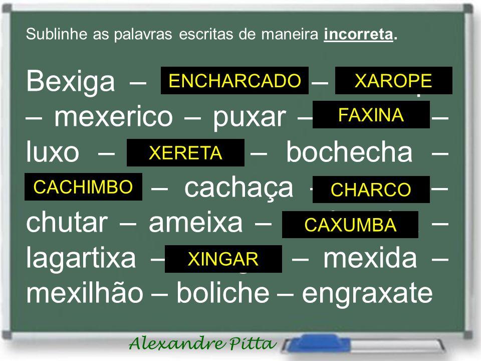 Alexandre Pitta Sublinhe as palavras escritas de maneira incorreta. Bexiga – enxarcado – charope – mexerico – puxar – fachina – luxo – chereta – boche