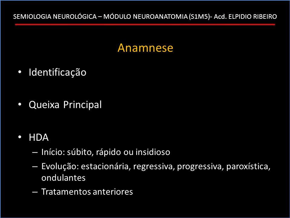 SEMIOLOGIA NEUROLÓGICA – MÓDULO NEUROANATOMIA (S1M5)- Acd. ELPIDIO RIBEIRO Anamnese Identificação Queixa Principal HDA – Início: súbito, rápido ou ins