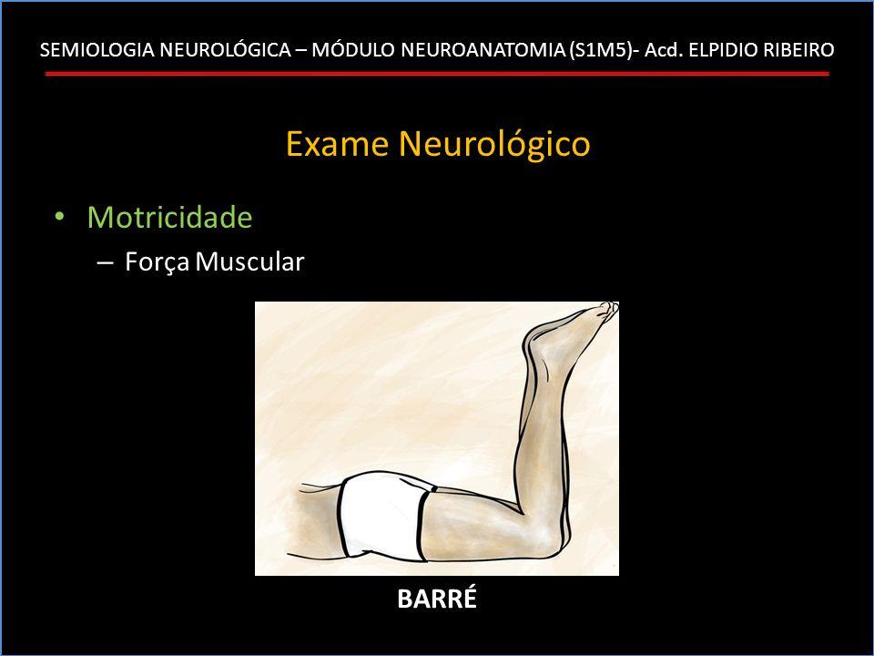SEMIOLOGIA NEUROLÓGICA – MÓDULO NEUROANATOMIA (S1M5)- Acd. ELPIDIO RIBEIRO Exame Neurológico Motricidade – Força Muscular BARRÉ