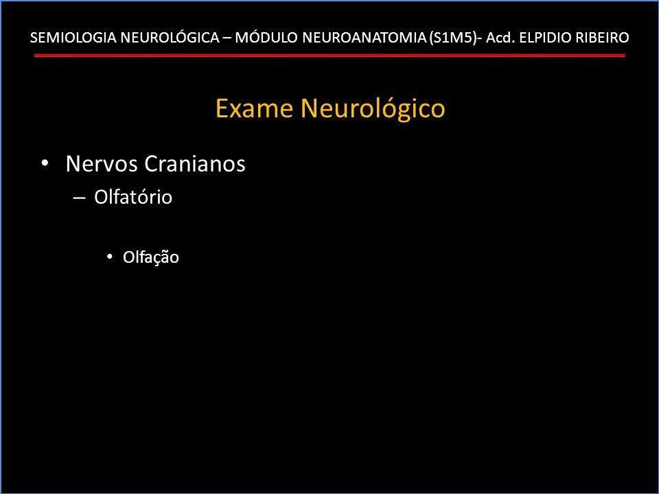 SEMIOLOGIA NEUROLÓGICA – MÓDULO NEUROANATOMIA (S1M5)- Acd. ELPIDIO RIBEIRO Exame Neurológico Nervos Cranianos – Olfatório Olfação