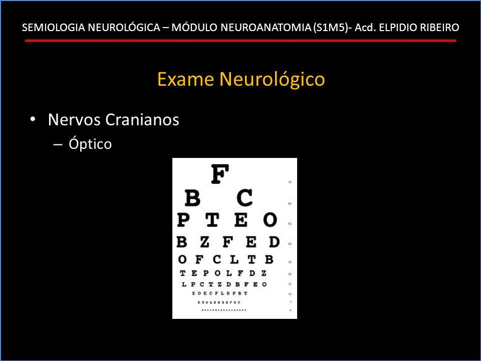SEMIOLOGIA NEUROLÓGICA – MÓDULO NEUROANATOMIA (S1M5)- Acd. ELPIDIO RIBEIRO Exame Neurológico Nervos Cranianos – Óptico