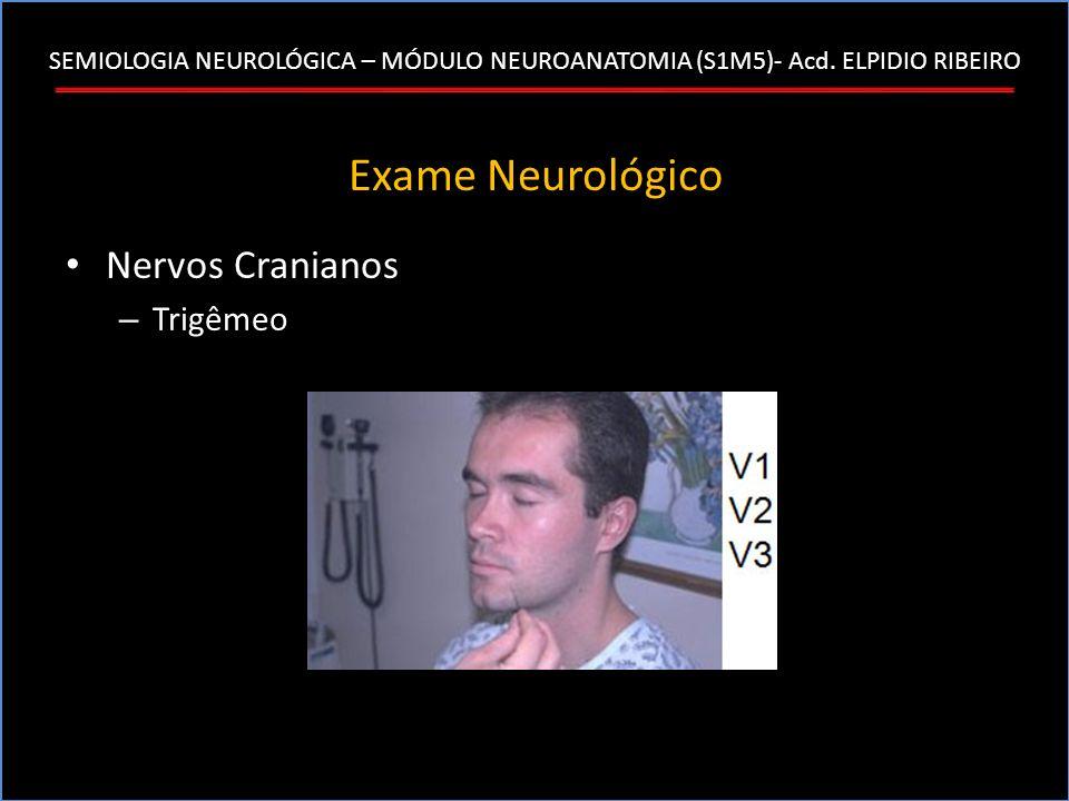 SEMIOLOGIA NEUROLÓGICA – MÓDULO NEUROANATOMIA (S1M5)- Acd. ELPIDIO RIBEIRO Exame Neurológico Nervos Cranianos – Trigêmeo