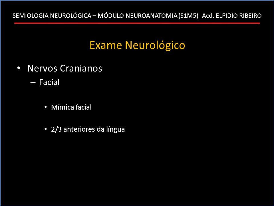 SEMIOLOGIA NEUROLÓGICA – MÓDULO NEUROANATOMIA (S1M5)- Acd. ELPIDIO RIBEIRO Exame Neurológico Nervos Cranianos – Facial Mímica facial 2/3 anteriores da