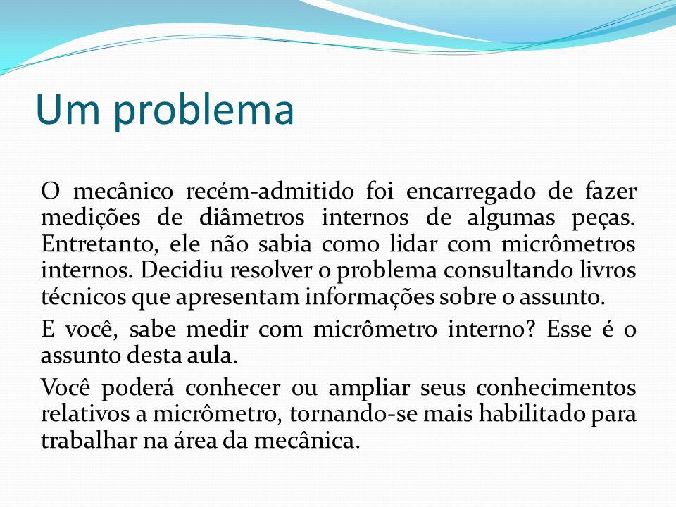 Tipos de micrômetro interno Para medição de partes internas empregam-se dois tipos de micrômetros: micrômetro interno de três contatos, micrômetro interno de dois contatos (tubular e tipo paquímetro).