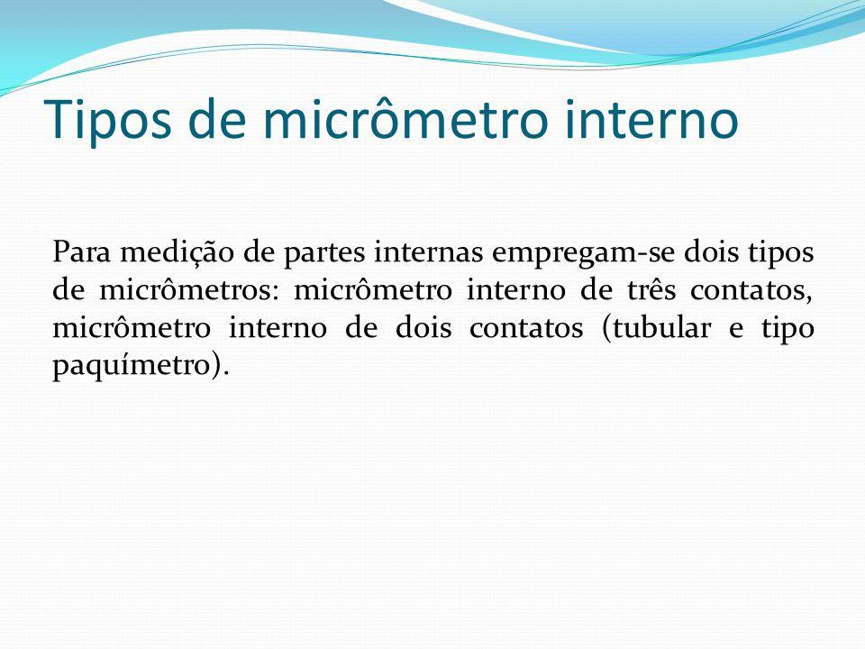 Micrômetro interno de três contatos Este tipo de micrômetro é usado exclusivamente para realizar medidas em superfícies cilíndricas internas, permitindo leitura rápida e direta.