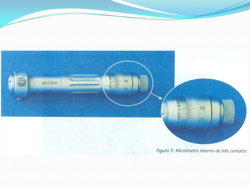 A leitura em micrômetros internos de três contatos é realizada da seguinte maneira: o tambor encobre a divisão da bainha correspondente a 36,5 mm; a esse valor deve-se somar aquele fornecido pelo tambor: 0,240 mm; o valor total da medida será, portanto: 36,740 mm.