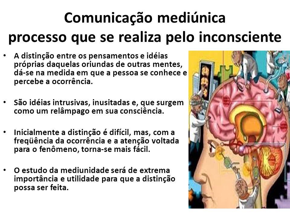 Comunicação mediúnica processo que se realiza pelo inconsciente A distinção entre os pensamentos e idéias próprias daquelas oriundas de outras mentes,