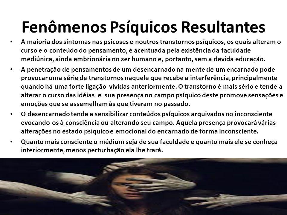 Fenômenos Psíquicos Resultantes A maioria dos sintomas nas psicoses e noutros transtornos psíquicos, os quais alteram o curso e o conteúdo do pensamen