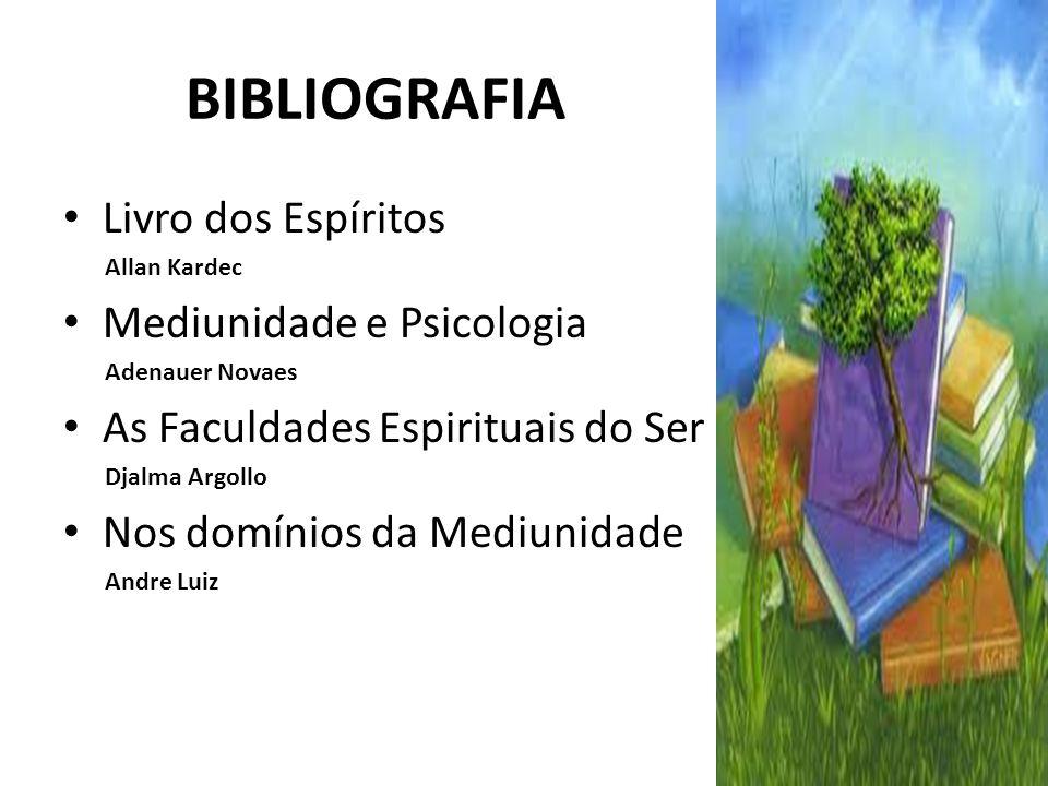 BIBLIOGRAFIA Livro dos Espíritos Allan Kardec Mediunidade e Psicologia Adenauer Novaes As Faculdades Espirituais do Ser Djalma Argollo Nos domínios da