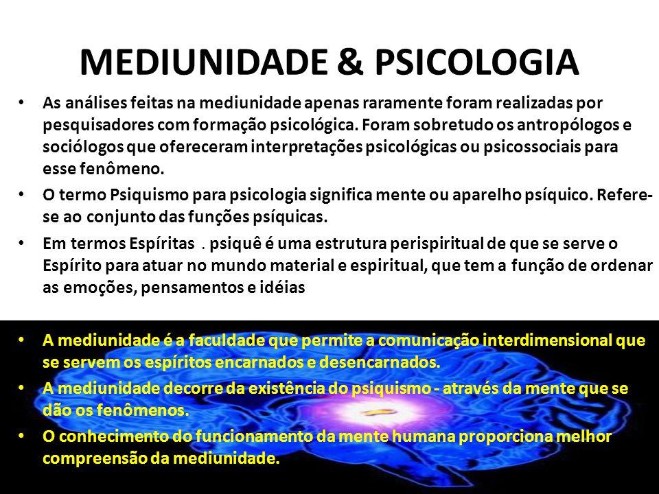 MEDIUNIDADE & PSICOLOGIA As análises feitas na mediunidade apenas raramente foram realizadas por pesquisadores com formação psicológica. Foram sobretu