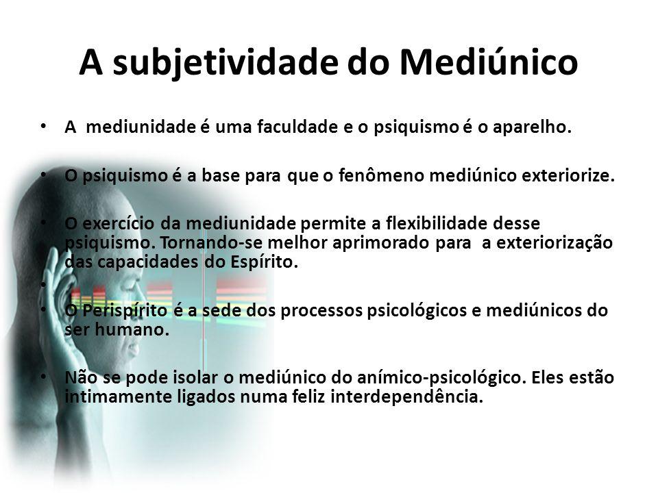 A subjetividade do Mediúnico A mediunidade é uma faculdade e o psiquismo é o aparelho. O psiquismo é a base para que o fenômeno mediúnico exteriorize.