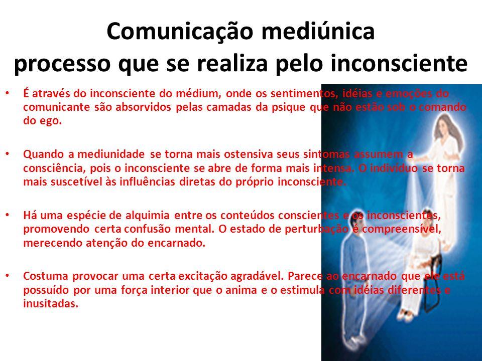 Comunicação mediúnica processo que se realiza pelo inconsciente É através do inconsciente do médium, onde os sentimentos, idéias e emoções do comunica