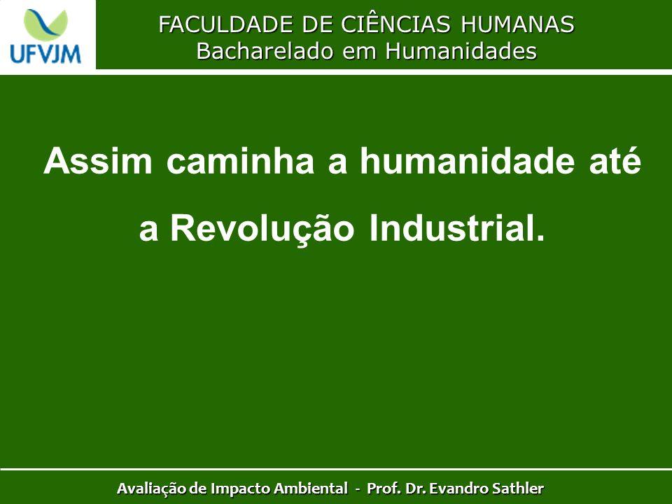 FACULDADE DE CIÊNCIAS HUMANAS Bacharelado em Humanidades Avaliação de Impacto Ambiental - Prof. Dr. Evandro Sathler Assim caminha a humanidade até a R