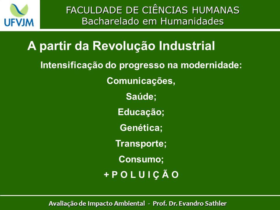 FACULDADE DE CIÊNCIAS HUMANAS Bacharelado em Humanidades Avaliação de Impacto Ambiental - Prof. Dr. Evandro Sathler A partir da Revolução Industrial I