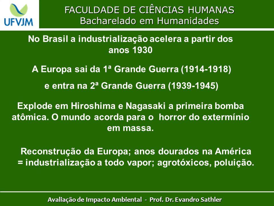 FACULDADE DE CIÊNCIAS HUMANAS Bacharelado em Humanidades Avaliação de Impacto Ambiental - Prof. Dr. Evandro Sathler No Brasil a industrialização acele