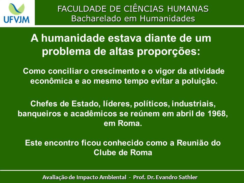 FACULDADE DE CIÊNCIAS HUMANAS Bacharelado em Humanidades Avaliação de Impacto Ambiental - Prof. Dr. Evandro Sathler A humanidade estava diante de um p
