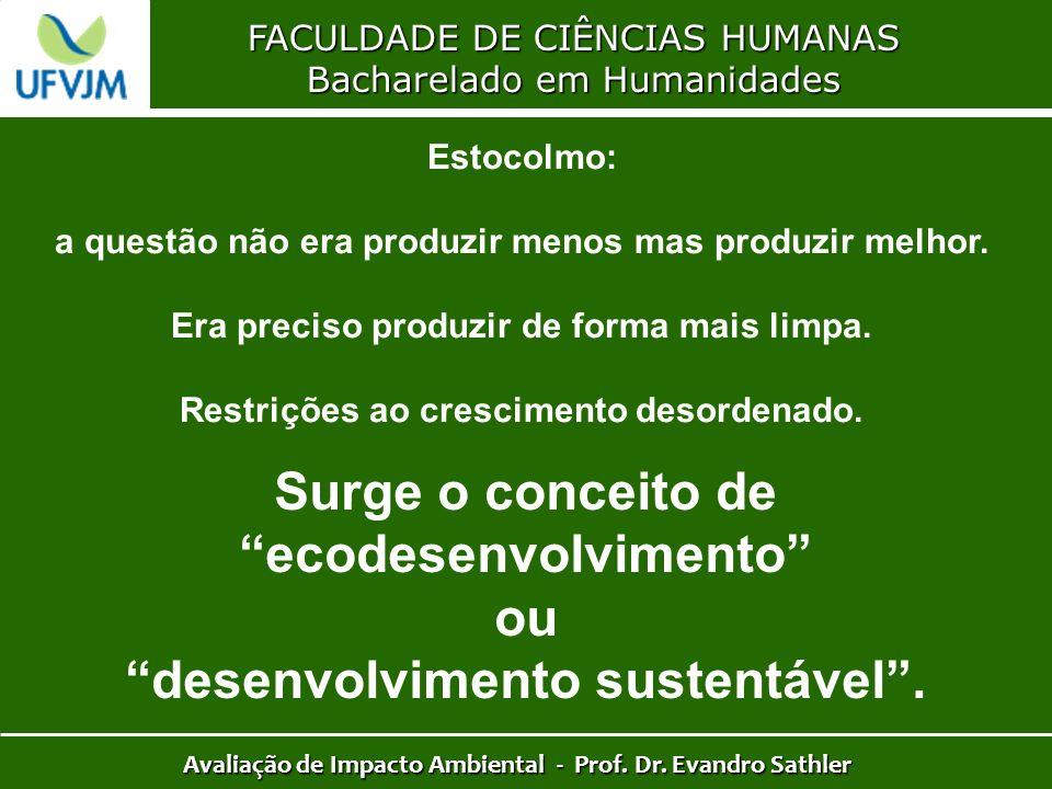 FACULDADE DE CIÊNCIAS HUMANAS Bacharelado em Humanidades Avaliação de Impacto Ambiental - Prof. Dr. Evandro Sathler Estocolmo: a questão não era produ