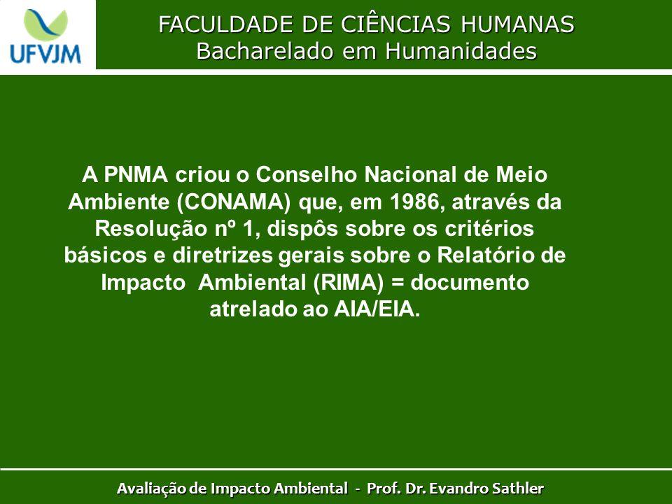 FACULDADE DE CIÊNCIAS HUMANAS Bacharelado em Humanidades Avaliação de Impacto Ambiental - Prof. Dr. Evandro Sathler A PNMA criou o Conselho Nacional d