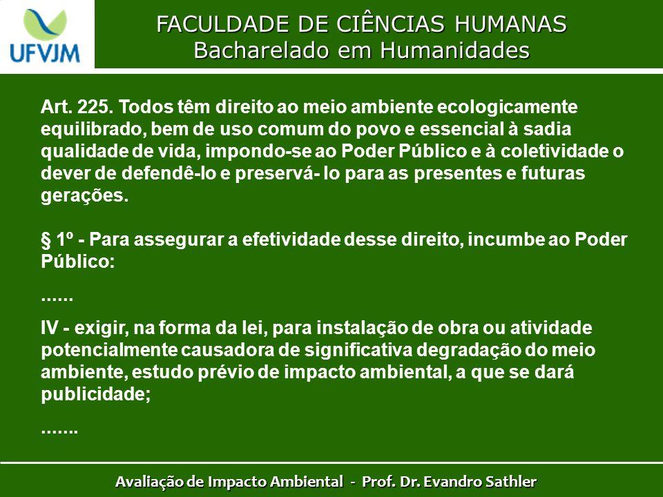 FACULDADE DE CIÊNCIAS HUMANAS Bacharelado em Humanidades Avaliação de Impacto Ambiental - Prof. Dr. Evandro Sathler Art. 225. Todos têm direito ao mei