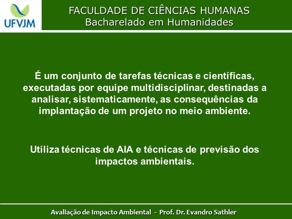 FACULDADE DE CIÊNCIAS HUMANAS Bacharelado em Humanidades Avaliação de Impacto Ambiental - Prof. Dr. Evandro Sathler É um conjunto de tarefas técnicas