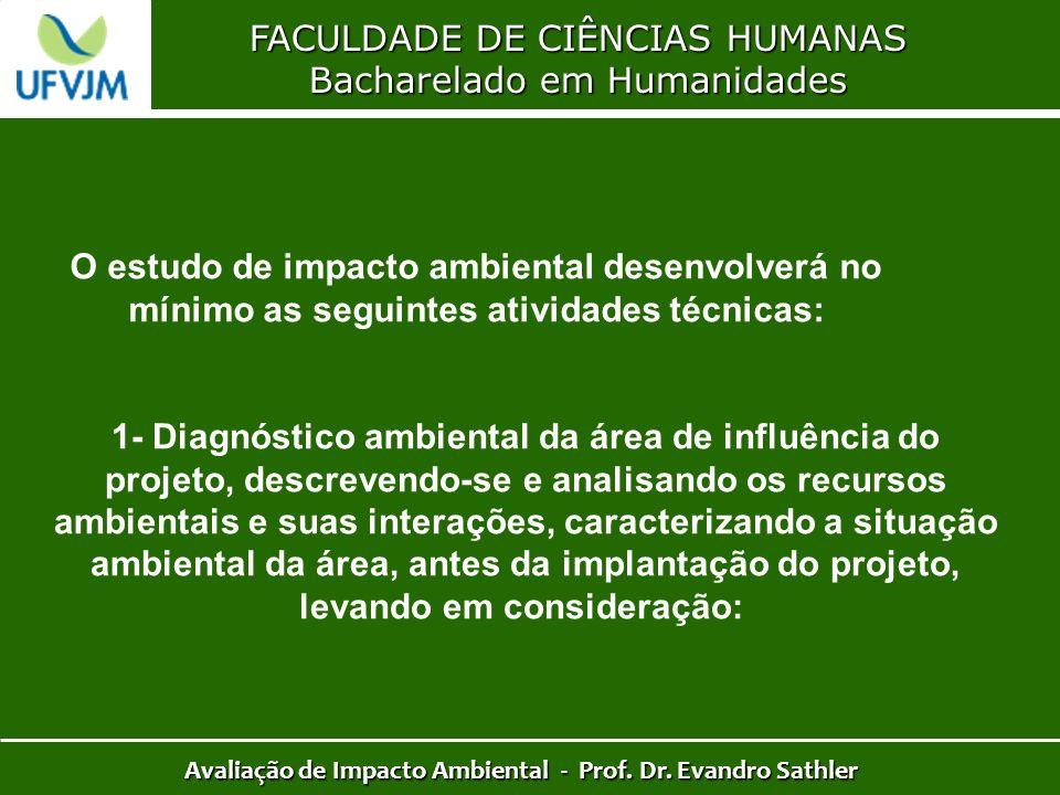 FACULDADE DE CIÊNCIAS HUMANAS Bacharelado em Humanidades Avaliação de Impacto Ambiental - Prof. Dr. Evandro Sathler O estudo de impacto ambiental dese