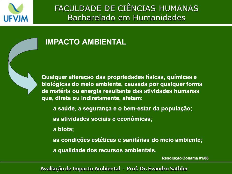 FACULDADE DE CIÊNCIAS HUMANAS Bacharelado em Humanidades Avaliação de Impacto Ambiental - Prof. Dr. Evandro Sathler IMPACTO AMBIENTAL Qualquer alteraç