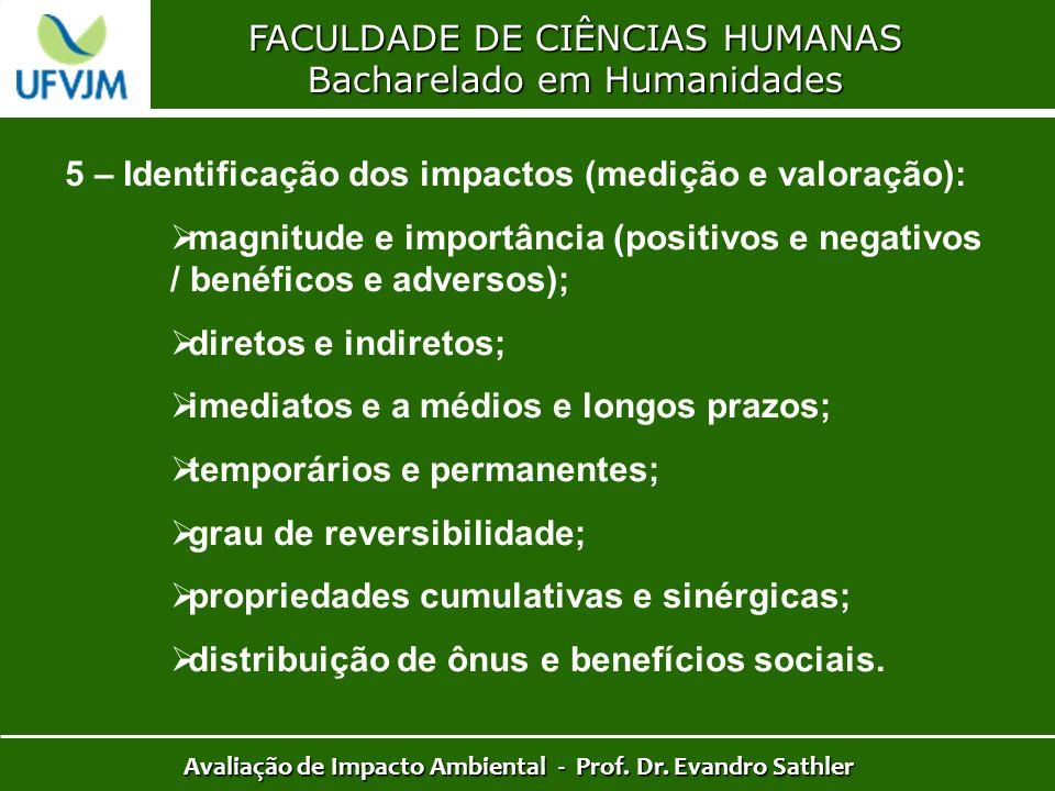 FACULDADE DE CIÊNCIAS HUMANAS Bacharelado em Humanidades Avaliação de Impacto Ambiental - Prof. Dr. Evandro Sathler 5 – Identificação dos impactos (me