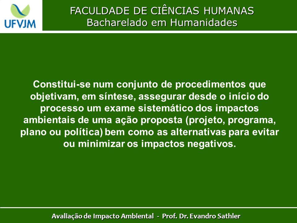 FACULDADE DE CIÊNCIAS HUMANAS Bacharelado em Humanidades Avaliação de Impacto Ambiental - Prof. Dr. Evandro Sathler Constitui-se num conjunto de proce