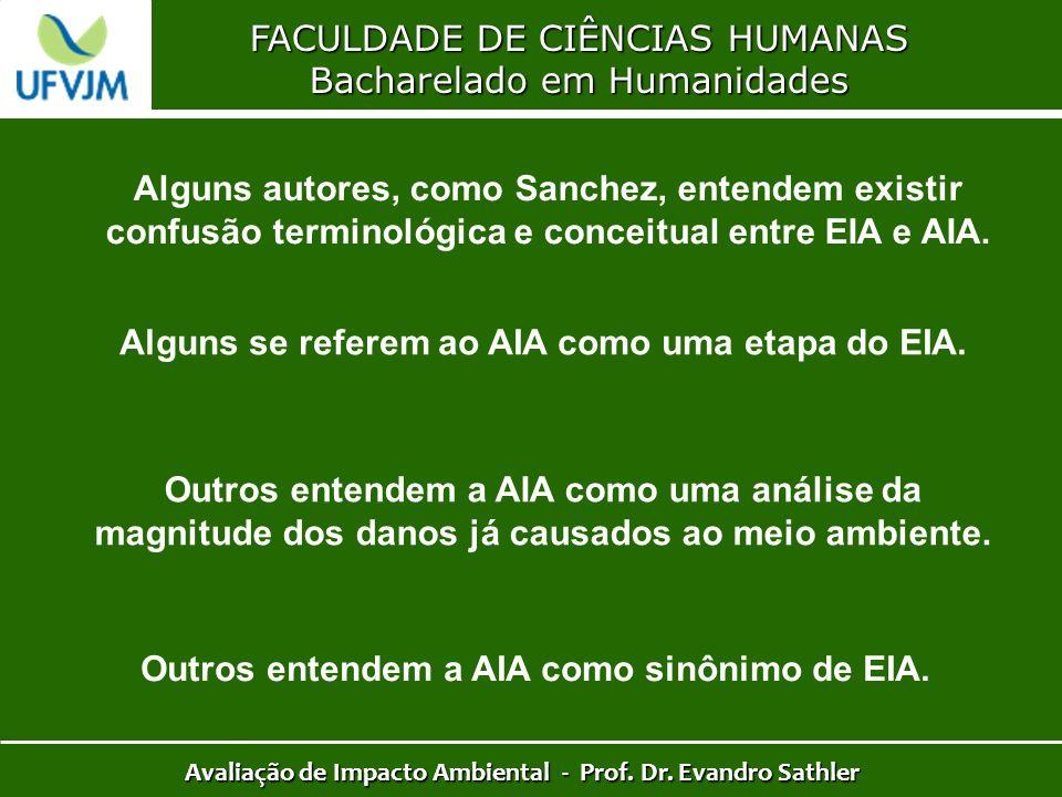 FACULDADE DE CIÊNCIAS HUMANAS Bacharelado em Humanidades Avaliação de Impacto Ambiental - Prof. Dr. Evandro Sathler Alguns autores, como Sanchez, ente