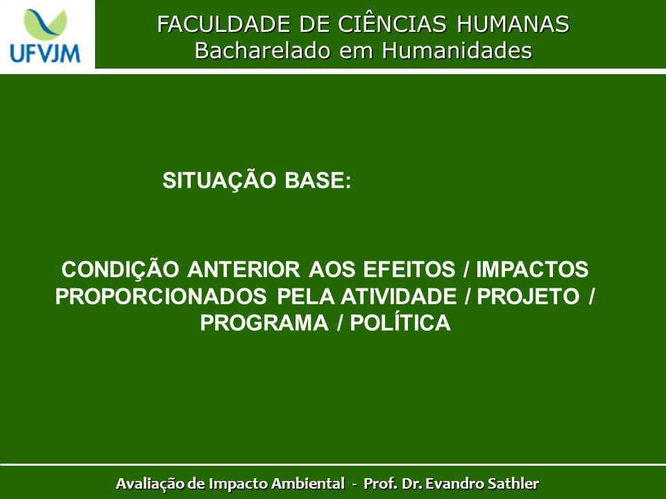 FACULDADE DE CIÊNCIAS HUMANAS Bacharelado em Humanidades Avaliação de Impacto Ambiental - Prof. Dr. Evandro Sathler SITUAÇÃO BASE: CONDIÇÃO ANTERIOR A