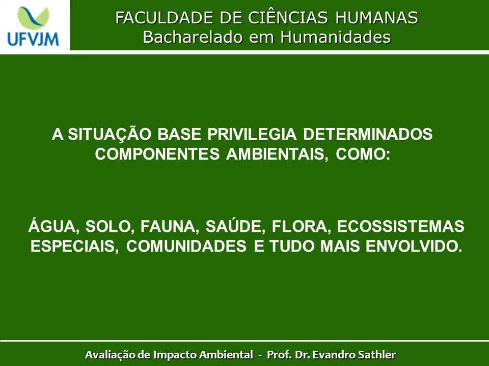 FACULDADE DE CIÊNCIAS HUMANAS Bacharelado em Humanidades Avaliação de Impacto Ambiental - Prof. Dr. Evandro Sathler A SITUAÇÃO BASE PRIVILEGIA DETERMI