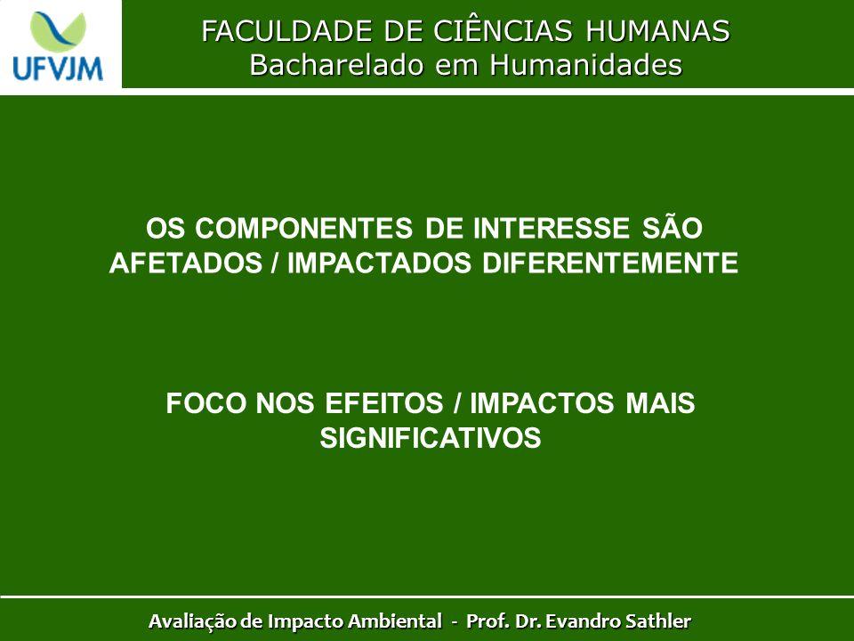 FACULDADE DE CIÊNCIAS HUMANAS Bacharelado em Humanidades Avaliação de Impacto Ambiental - Prof. Dr. Evandro Sathler OS COMPONENTES DE INTERESSE SÃO AF
