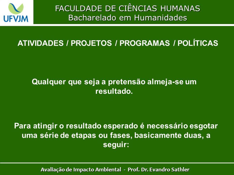 FACULDADE DE CIÊNCIAS HUMANAS Bacharelado em Humanidades Avaliação de Impacto Ambiental - Prof. Dr. Evandro Sathler ATIVIDADES / PROJETOS / PROGRAMAS
