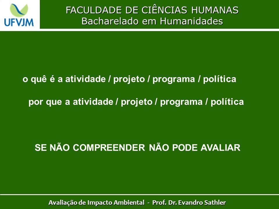FACULDADE DE CIÊNCIAS HUMANAS Bacharelado em Humanidades Avaliação de Impacto Ambiental - Prof. Dr. Evandro Sathler por que a atividade / projeto / pr
