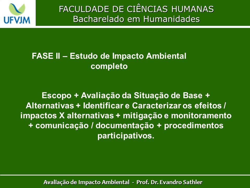 FACULDADE DE CIÊNCIAS HUMANAS Bacharelado em Humanidades Avaliação de Impacto Ambiental - Prof. Dr. Evandro Sathler FASE II – Estudo de Impacto Ambien