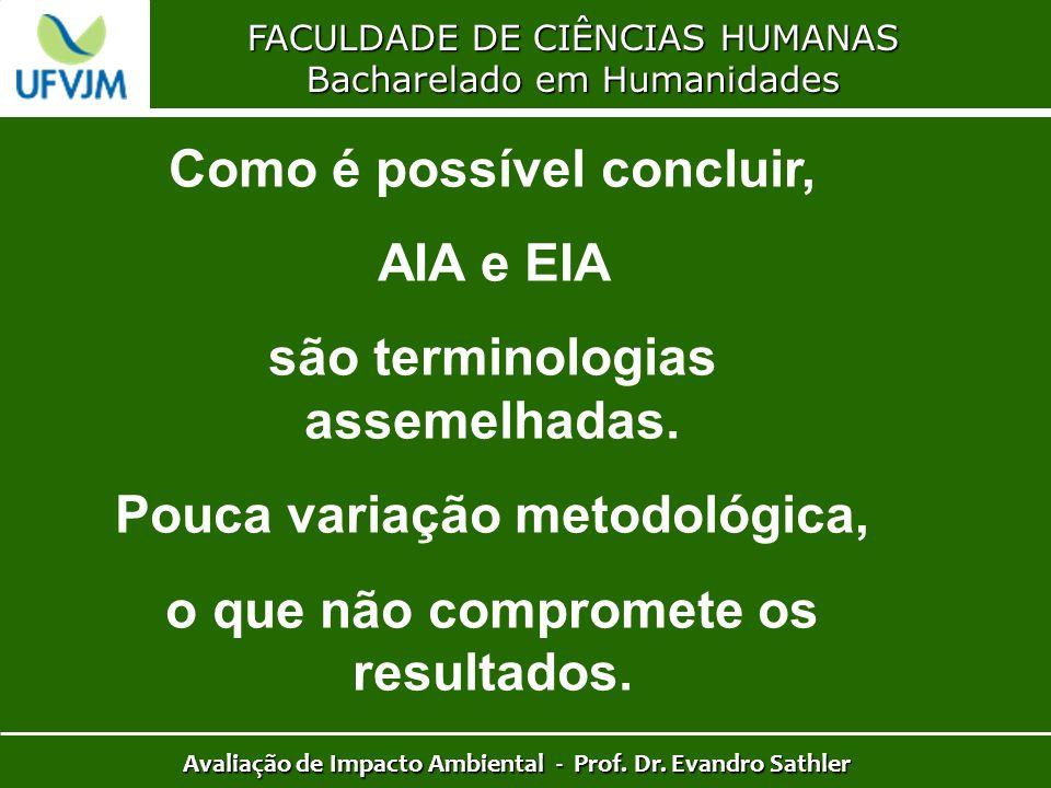 FACULDADE DE CIÊNCIAS HUMANAS Bacharelado em Humanidades Avaliação de Impacto Ambiental - Prof. Dr. Evandro Sathler Como é possível concluir, AIA e EI
