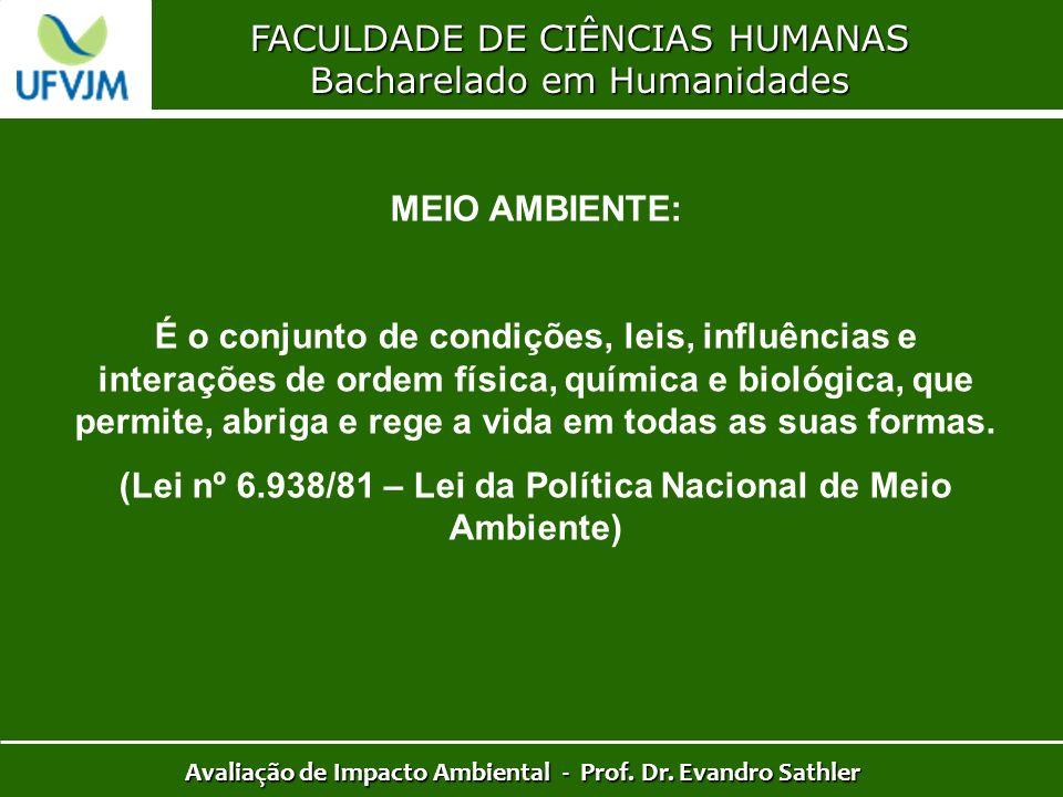 FACULDADE DE CIÊNCIAS HUMANAS Bacharelado em Humanidades Avaliação de Impacto Ambiental - Prof. Dr. Evandro Sathler MEIO AMBIENTE: É o conjunto de con