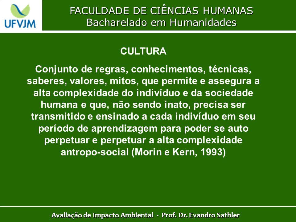 FACULDADE DE CIÊNCIAS HUMANAS Bacharelado em Humanidades Avaliação de Impacto Ambiental - Prof. Dr. Evandro Sathler CULTURA Conjunto de regras, conhec