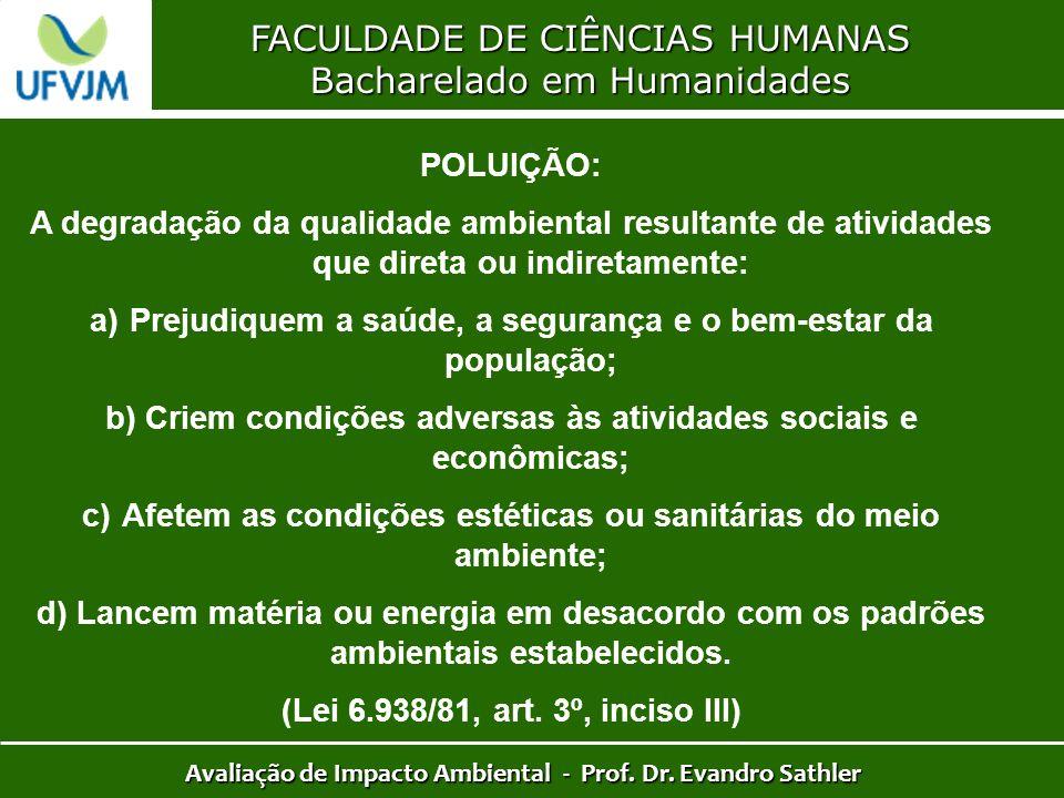 FACULDADE DE CIÊNCIAS HUMANAS Bacharelado em Humanidades Avaliação de Impacto Ambiental - Prof. Dr. Evandro Sathler POLUIÇÃO: A degradação da qualidad