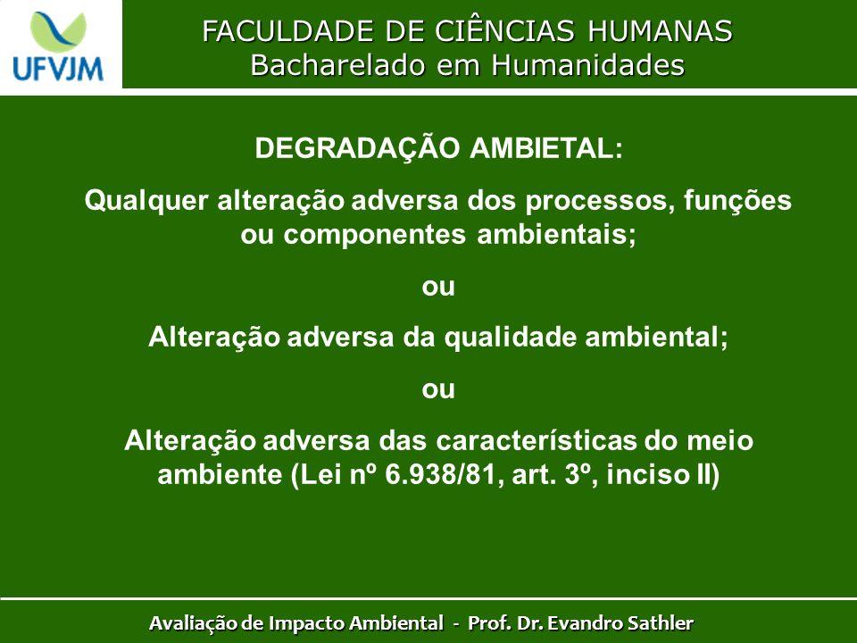 FACULDADE DE CIÊNCIAS HUMANAS Bacharelado em Humanidades Avaliação de Impacto Ambiental - Prof. Dr. Evandro Sathler DEGRADAÇÃO AMBIETAL: Qualquer alte