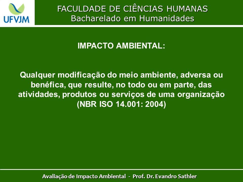 FACULDADE DE CIÊNCIAS HUMANAS Bacharelado em Humanidades Avaliação de Impacto Ambiental - Prof. Dr. Evandro Sathler IMPACTO AMBIENTAL: Qualquer modifi
