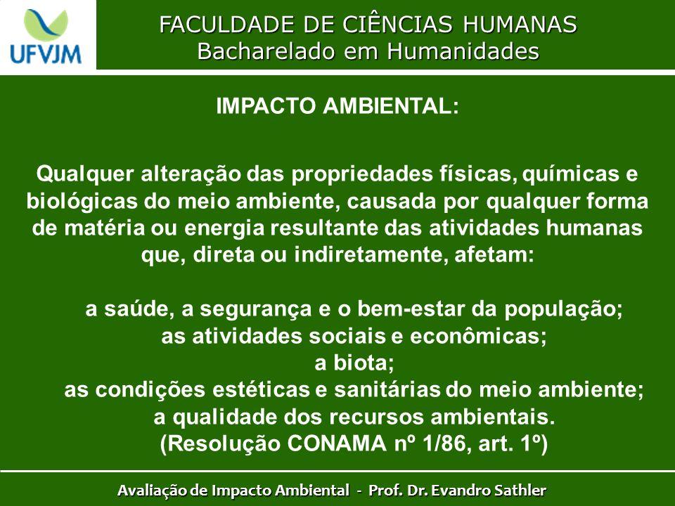 FACULDADE DE CIÊNCIAS HUMANAS Bacharelado em Humanidades Avaliação de Impacto Ambiental - Prof. Dr. Evandro Sathler IMPACTO AMBIENTAL: Qualquer altera