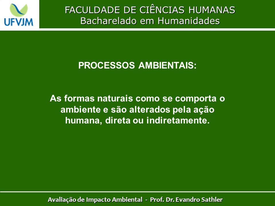 FACULDADE DE CIÊNCIAS HUMANAS Bacharelado em Humanidades Avaliação de Impacto Ambiental - Prof. Dr. Evandro Sathler PROCESSOS AMBIENTAIS: As formas na