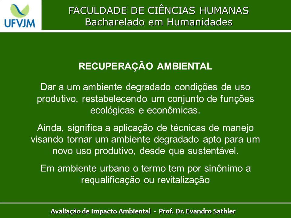 FACULDADE DE CIÊNCIAS HUMANAS Bacharelado em Humanidades Avaliação de Impacto Ambiental - Prof. Dr. Evandro Sathler RECUPERAÇÃO AMBIENTAL Dar a um amb