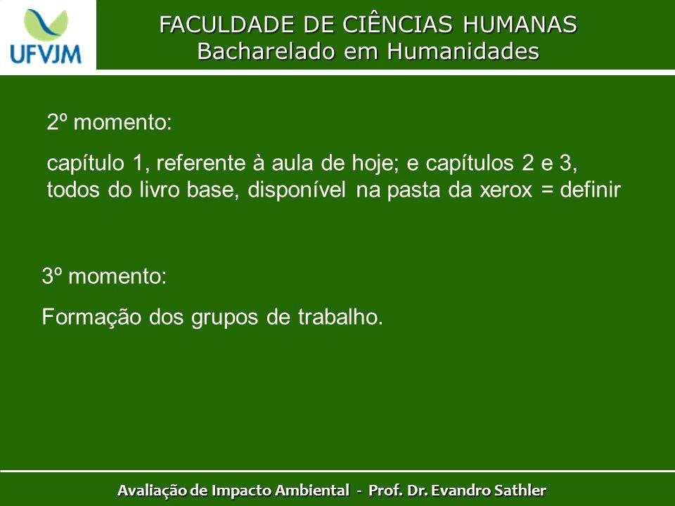 FACULDADE DE CIÊNCIAS HUMANAS Bacharelado em Humanidades Avaliação de Impacto Ambiental - Prof. Dr. Evandro Sathler 2º momento: capítulo 1, referente