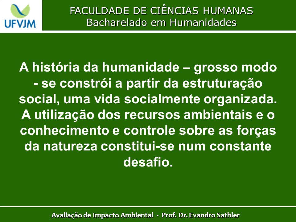 FACULDADE DE CIÊNCIAS HUMANAS Bacharelado em Humanidades Avaliação de Impacto Ambiental - Prof. Dr. Evandro Sathler A história da humanidade – grosso