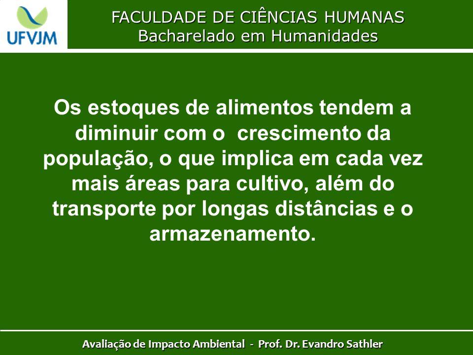 FACULDADE DE CIÊNCIAS HUMANAS Bacharelado em Humanidades Avaliação de Impacto Ambiental - Prof. Dr. Evandro Sathler Os estoques de alimentos tendem a